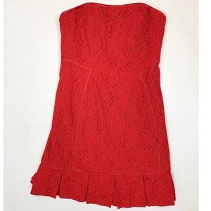 Red Strapless Lace Mini Dress